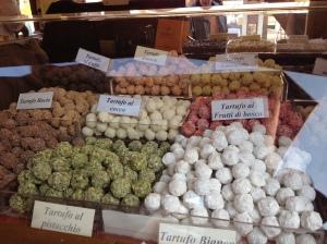 Trufas na feira de chocolates em Siena